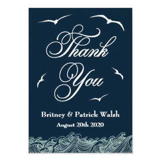 濃紺及び白く航海のな結婚式のサンキューカード カード