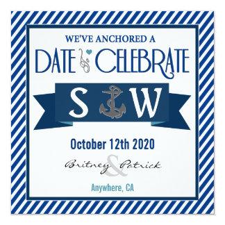 濃紺及び白く航海のな結婚式招待状 13.3 スクエアインビテーションカード