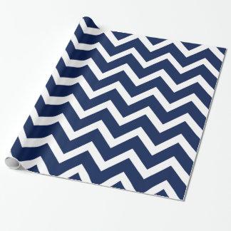 濃紺及び白のシェブロンのジグザグパターン ラッピングペーパー