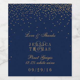 濃紺及び魅力的な金ゴールドの紙吹雪の結婚式のワイン・ボトル ワインラベル