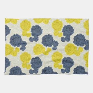 濃紺及び黄色のヴィンテージの花の台所タオル キッチンタオル