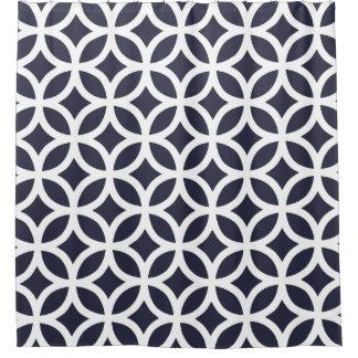 濃紺幾何学的なパターンシャワー・カーテン シャワーカーテン