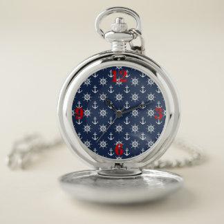 、濃紺航海の、白、赤い壊中時計 ポケットウォッチ