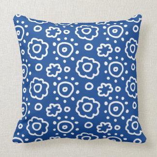 濃紺花パターン枕 クッション
