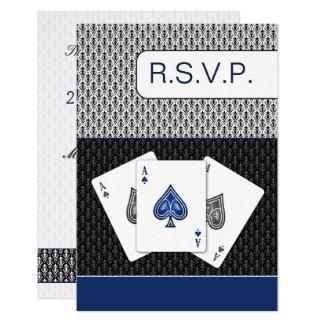 濃紺3のエースのベガスの結婚式のrsvp カード