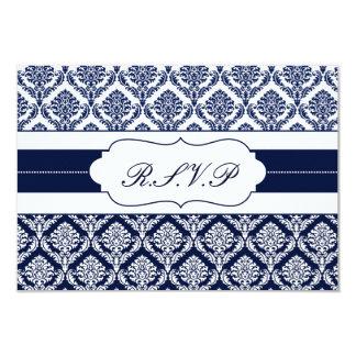 """""""濃紺""""のダマスク織の   rsvpの標準3.5 x 5 8.9 x 12.7 インビテーションカード"""