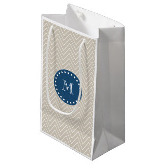 濃紺、シェブロンベージュパターン|あなたのモノグラム スモールペーパーバッグ