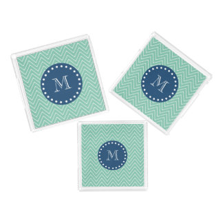 濃紺、シェブロン真新しい緑のパターン|あなたのMonog アクリルトレー