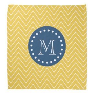 濃紺、シェブロン黄色いパターン|あなたのモノグラム バンダナ