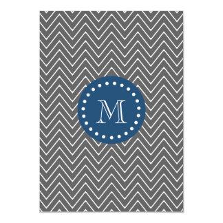 濃紺、チャコールグレーのシェブロンパターン 12.7 X 17.8 インビテーションカード