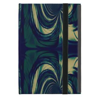 濃紺、ベージュ膚触りがよい抽象芸術-および緑 iPad MINI ケース