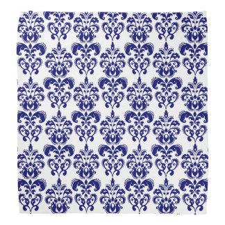 濃紺、白いヴィンテージのダマスク織パターン2 バンダナ
