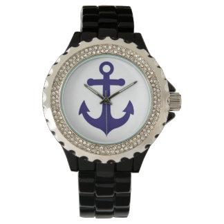 濃紺、白く航海のないかりの腕時計 腕時計