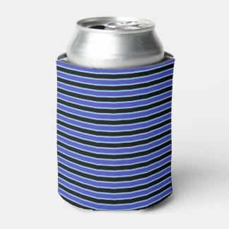 濃紺、黒いおよびパステル調の青い縞 缶クーラー