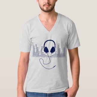 濃紺v1の可聴周波棒グラフのヘッドホーン tシャツ