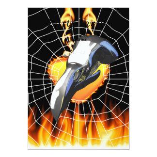 火およびくもの巣とのクロムワシのスカルのデザイン2 カード
