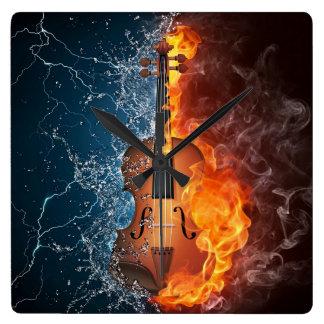 火および水バイオリンの柱時計 スクエア壁時計