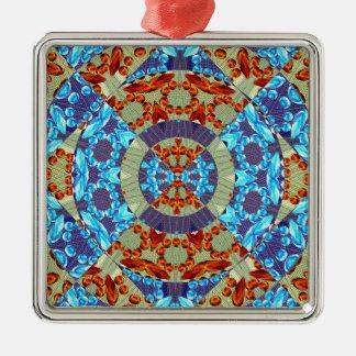火および氷のフラクタルの幾何学的設計 メタルオーナメント