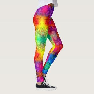 [火および氷]明るくはっきりしたな虹の絞り染め レギンス
