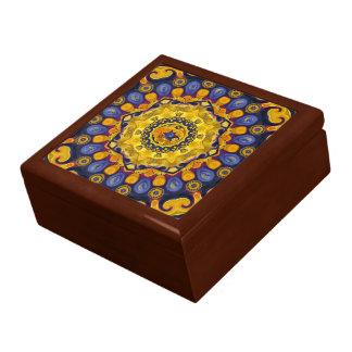 火および淡青色の曼荼羅のセラミックタイル箱 ギフトボックス