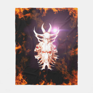 火および炎によって囲まれるスカル フリースブランケット