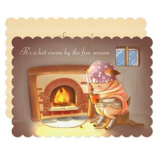 火による熱いココアを持つ小さいシカPud カード