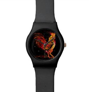 火のオンドリ。 燃えるような動物の輝きのカッコいいのデザイン 腕時計