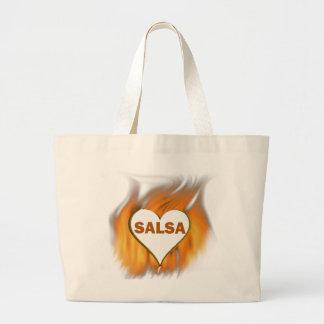 火のサルサのハート ラージトートバッグ