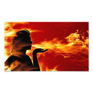 火のシルエットの写真のプリント フォトプリント