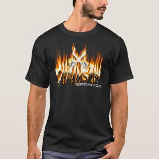 火のチェーンソーのロゴ Tシャツ