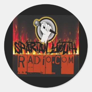 火のデザインでグランジなスパルタ式の青年ラジオ ラウンドシール