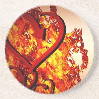 火のハート コースター
