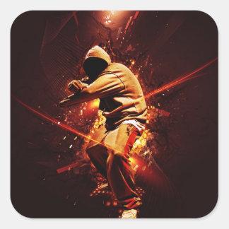 火のヒップホップのbreakdancer スクエアシール