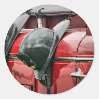 火のヘルメット 丸形シールステッカー