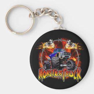 火のモンスタートラックの青 キーホルダー