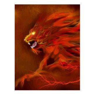 火のライオンの芸術的な炎のイラストレーション ポストカード