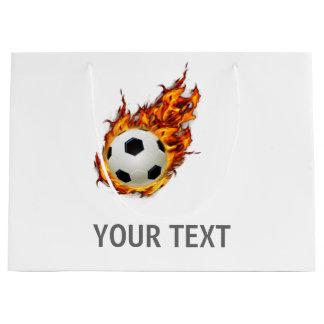 火の名前入りなサッカーボール ラージペーパーバッグ