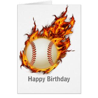 火の名前入りな野球の球 グリーティングカード