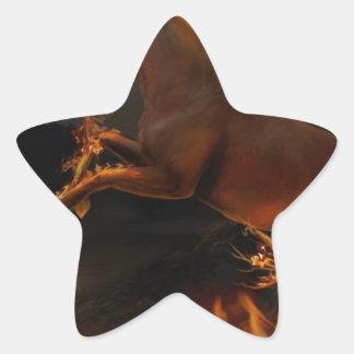 火の強力な馬 星シール