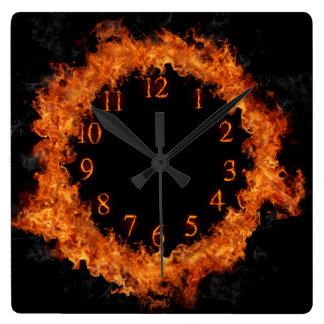 火の時計の激しい炎の柱時計 スクエア壁時計