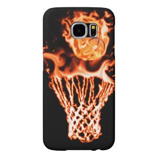 火の網を通って行く火のバスケットボール SAMSUNG GALAXY S6 ケース