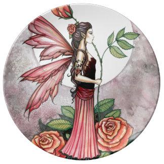 火の花の妖精のファンタジーの芸術のバラ 磁器プレート