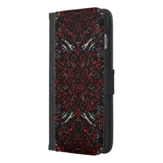火の赤いシマウマの抽象芸術パターン iPhone 6/6S PLUS ウォレットケース