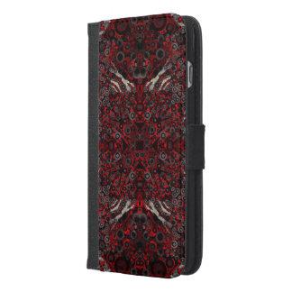 火の赤く黒いシマウマの抽象芸術 iPhone 6/6S PLUS ウォレットケース