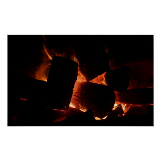 火ピットの暖かいオレンジおよび黒い冬の写真撮影 ポスター