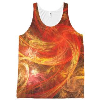 火事場風の新星の抽象美術 オールオーバープリントタンクトップ