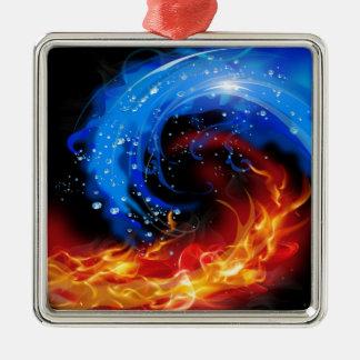 火及び水カッコいいの抽象芸術 メタルオーナメント