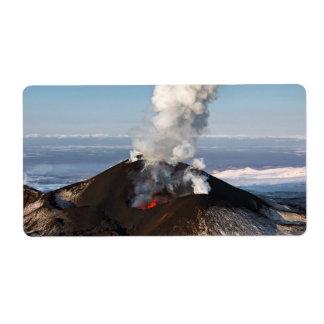 火山を噴火する噴火口: 溶岩、ガス、蒸気、灰 ラベル