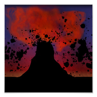 火山シルエット ポスター
