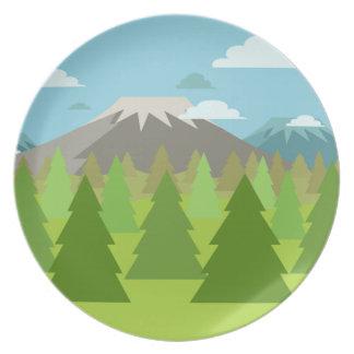 火山山の下のPinetreeの森林 プレート